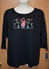 Womens Black Rhinestone Holiday Cat Karen Scott 3/4 Sleeve Shirt Size 1X NWT NEW