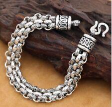 925 Sterling Silver men's rope chain bangle Bracelet 20cm S2388