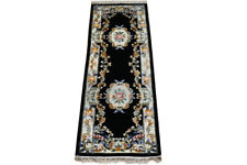 2 ft 6 in x 8 ft Aubusson Rug Black 244 x 79 cm Artificial Silk