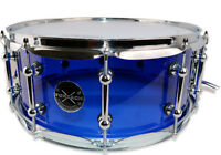 Blue Acrylic Acoustic Snare Drum 14x6 FREE Gift Included