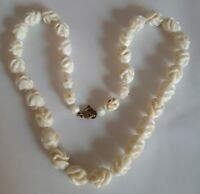 Vintage Art Deco Carved Celluloid cream flower Bead Necklace
