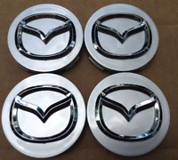 4x56mm MAZDA Silver Wheel Center Caps Logo Emblem Badge Hub Caps Rim Caps