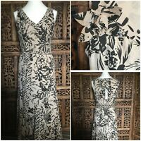 BNWT Per Una  Beige & Black Floral Dress Size  10  Rrp £45 Wedding Guest (G1)