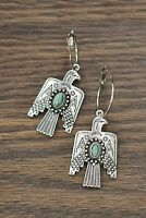 Vintage 925 Silver Turquoise Earrings Bird Ear Hook Dangle Drop Gift Jewelry