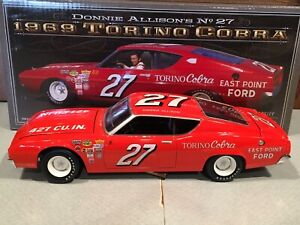Autographed University of Racing 1969 Donnie Allison #27 Ford Torino Cobra 1/24
