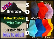 Kids & Adult Solid Colors 3-layered Reversible, Reusable, Fabric Face Masks