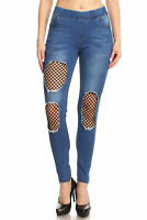 Women's Juniors Shaping Pull-On Ripped Stretch Denim Skinny Jeans