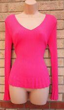 A rayas en rosa Lycra Knit Beaded Trim Long Sleeve Jumper Top túnica blusa Cami 12 M