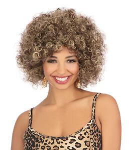 Wavy Curly 80s 90s Big Hair Ladies Afro Beyonce Brown Wig Fancy Dress Costume