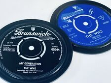 More details for the who- 2 vinyl record label coasters. my generation and substitute. mod.