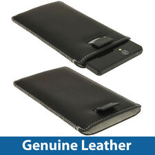 Black Genuine Leather Pouch for Sony Xperia Z Android Phone Case Cover Holder