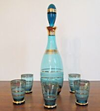 Vintage Czech Bohemia Glass-6 pc.cobolt blue gilted decanter and glasses