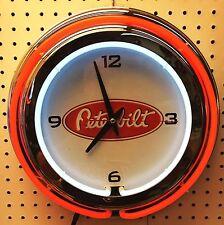 "15"" Peterbilt Sign Double Neon Clock Pete"