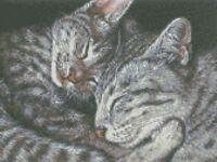 Cross Stitch Chart - Kit Tabby Cats - Nap Time