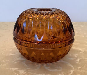 """Vintage Indiana Glass """"Mt. Vernon Amber"""" Round Fairy Light Candle Lamp"""