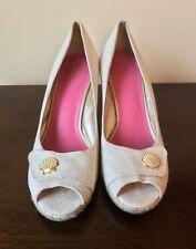 a5bd50446f Lilly Pulitzer Resort Chic Beige Shell Espadrille Canvas Wedge ~ Women's  9.5 EUC