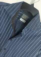 THOMAS DEAN Mens Flip Cuff Blue & Black Striped L/S Button Front Shirt Large L