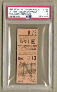 1949 Brooklyn Dodgers vs Chicago Cubs Ticket Stub Jackie Robinson RBI PSA Pop 1