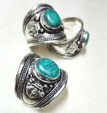 Classic Old Tibet Silver Green turquoise stone Ring one pieces adjustable size