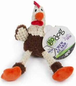 godog Checkers Plush Skinny Brown Rooster Chew Guard Technology for Small Dogs