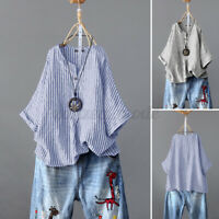 ZANZEA Women Linen Cotton Striped Shirt Tops V Neck Loose Casual T-Shirt Blouse