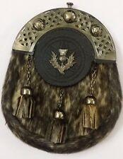 Men's Scottish Highland Full Dress Leather Kilt Sporran Seal Skin Celtic  Cantle