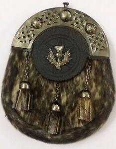 Men's Scottish Full Dress Leather Kilt Sporran Seal Skin Celtic Cantle Antique