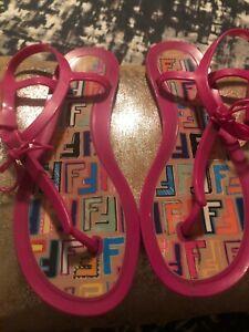 FENDI hot pink sandals size 39 us size 8