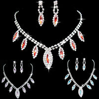 EG_ Perfect Rhinestone Waterdrop Pendant Necklace Earrings Wedding Bride Jewelry
