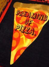 Handmade Fleece Tie-Blanket Reversible Throw Graphic Dreaming Of Pizza 60 X 48