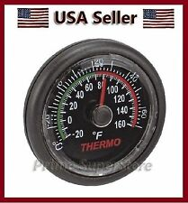 Black Small Thermometer Clock Car/RV/Boat Temp Gauge Monitor Indoor Temperature