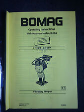 BOMAG OPERATING MAINTENANCE INSTRUCTIONS MANUAL VIBRATORY TAMPER BT60/4 BT65/4