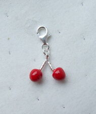 LOVELY CHERRIES CHERRY CHARM ON CLASP 925 STERLING SILVER