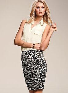 Victoria's Secret | Skirt | Fashion Sexy White Grey Animal Print Ruched Pencil 4