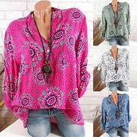 Womens Plus Size Floral V Neck T Shirt Long Sleeve Loose Tops Casual Blouse Boho