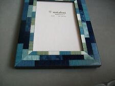 Natalini Mira Blue Frame Blue multi and White Wood Parquetry Italy for 4x6