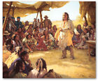 Paper That Talks Two Ways - by Howard Terpning -  giclee on canvas