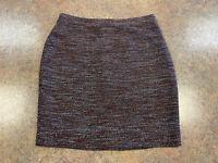 Ann Taylor Women Brown Black Tweed Business Formal Short Pencil Skirt Size 4