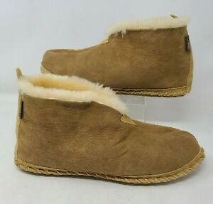 LL Bean Mens Wicked Good Sherpa Slippers Boots Sheep Fur Leather Brown Size 12