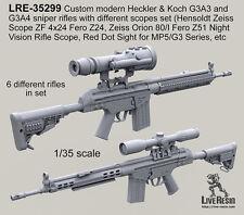 Live Resin 1/35 LRE-35299 Custom Modern Heckler & Koch G3A3 & G3A4 Sniper Rifles