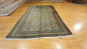 Antique 1940-1950's Distressed Wool Pile Old Muted Dye Oushak Area Rug 6x9ft