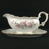 VTG Gravy Boat with Underplate by Mitterteich Springtime Pink Floral Germany