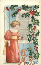 Christmas - Little Girl in Red Dress w/ Plant c1910 Postcard