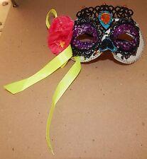 Halloween Costume Half Mask Adult Stiff Molded Queen White Sequin Flowers 118K