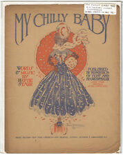 Rare Antique Original VTG 1906 My Chilly Baby NY Journal Piano Sheet Music Print
