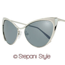 Tom Ford Cateye Sunglasses TF304 Nastasya 16C Shiny Palladium/Silver FT0304
