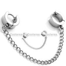 Women Silver Steel Tassel Chain Earrings Gothic Punk Helix Ear Studs Cuff ClipFQ