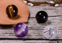 4Pcs Natural Black Obsidian,Tiger Eye,Black Tourmaline,Auralite 23 Beads