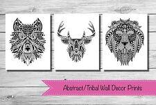 'ABSTRACT TRIBAL' Wall Art Wall Decor Print {NEW} 3 x PRINTS