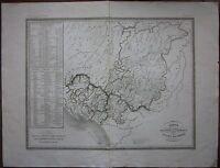 1845 CARTA OROGRAFICA IDROGRAFICA STATI ESTENSI Massa Carrara Modena Reggio